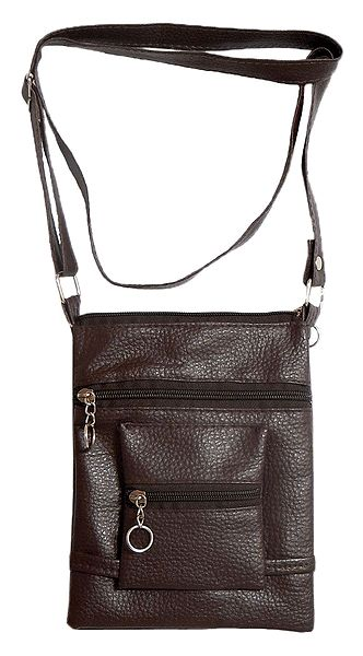 Brown Rexine Sling Bag with Four Zipped Pocket