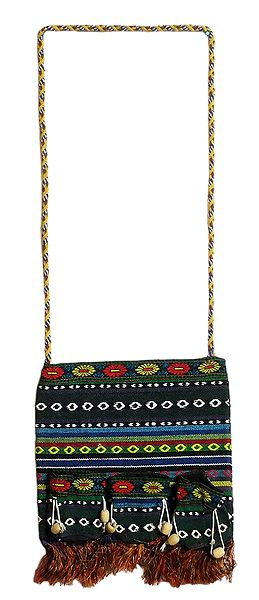 Colorful Weaved Bag with One Zipped Pocket and Three Small Pockets at the Front