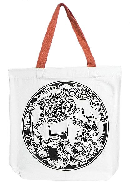 Elephant Print on White Shopping Bag