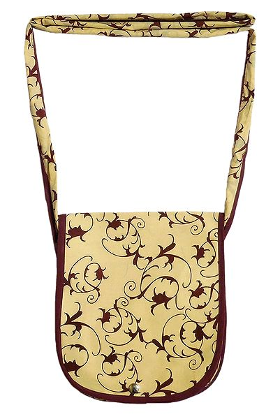 Dark Brown Print on Beige Cotton Shoulder Bag with One Open Pocket