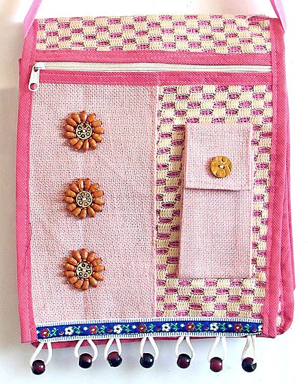 Decorative Jute Bag with Four Zipped Pockets and Mobile Holder