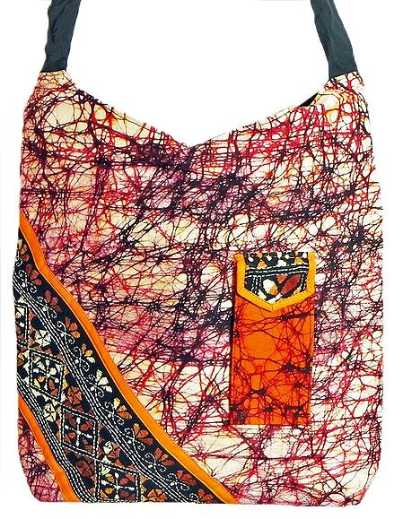 Kantha Embroidered Off-White with Black and Red Batik Cotton Bag with Two Zipped Pocket and One Mobile Pocket