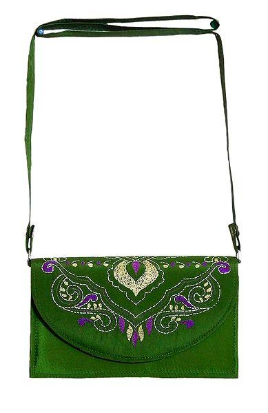 Green Bag with Kantha Stitch