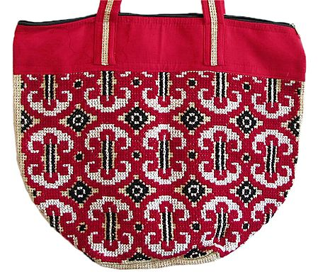 Hand Embroidered Jute Bag with Two Zipped Pockets