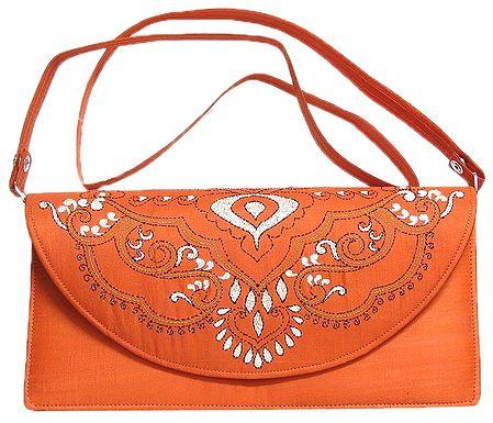Saffron Silk Bag with Kantha Stitch