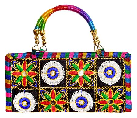 Embroidered Cloth Clutch Purse with Handle