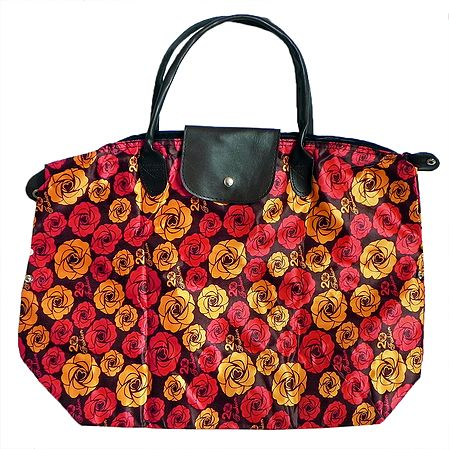 Foldable Yellow and Red Floral Printed Rexine Bag