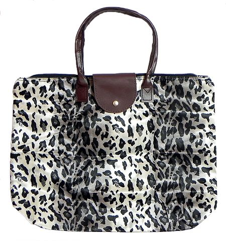 Foldable White Leopard Skin Printed Rexine Bag