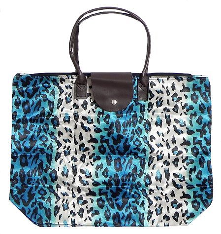 Foldable White and Blue Leopard Skin Printed Rexine Bag