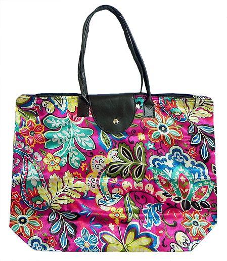 Foldable Multicolor Floral Printed Rexine Bag