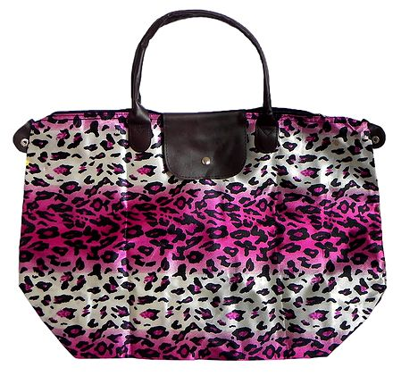 Foldable Leopard Skin Printed Rexine Bag