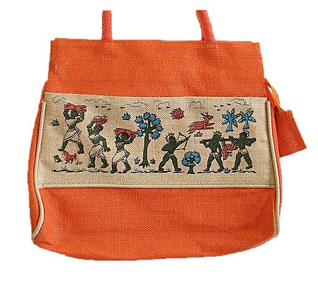 Hand Painted Jute Bag with Four Zipped Pockets