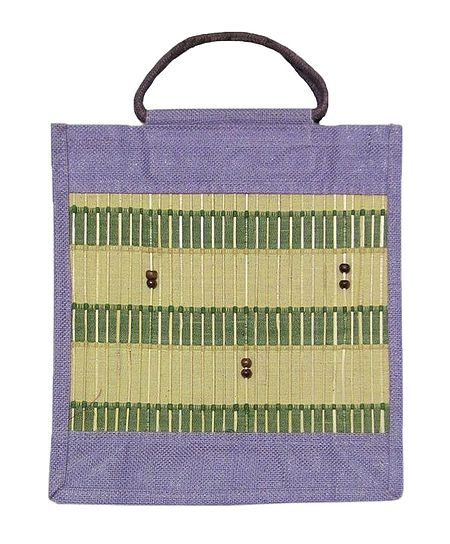 Jute Shopping Bag with Bead work on Bamboo Sticks
