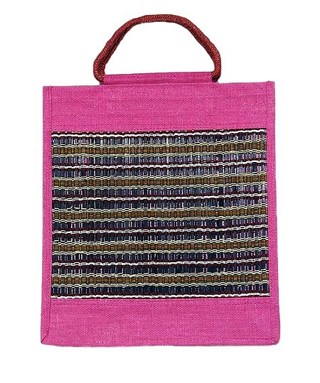 Jute Shopping Bag with Bamboo and Thread Pattern