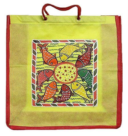 Kalighat Pata on Yellow Shopping Bag