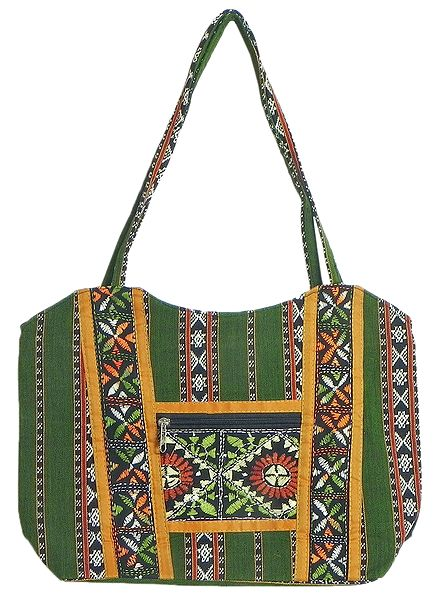 Kantha Embroidered Green with White Weaved Cotton Bag with Three Zipped Pockets