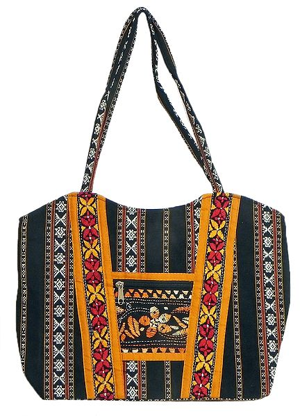 Kantha Embroidered Black with white Weaved Cotton Bag with Three Zipped Pocket