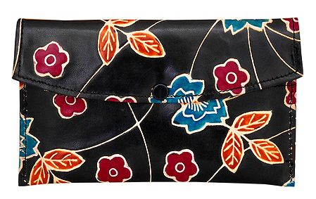 Embossed Design on Leather Bag with 2 Open and 1 Zipped Pockets