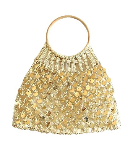 Golden Sequined Macreme Bag with Wooden Handle