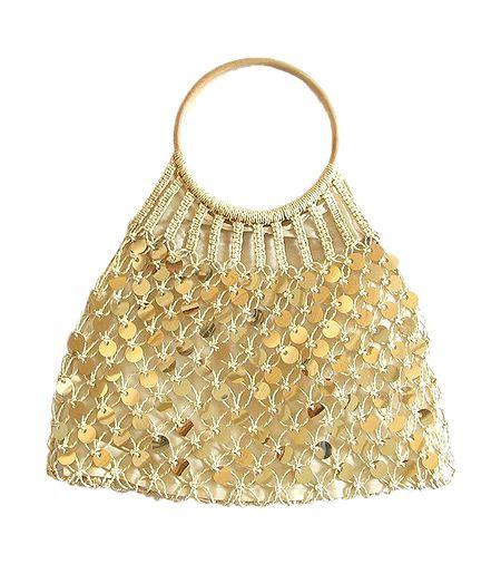 Golden Sequined Macreme Bag with Wooden Handle