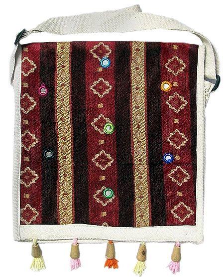 Maroon Jute Bag with Mirrorwork