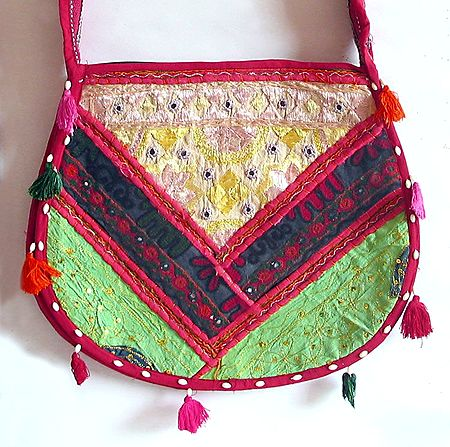 Mirrorwork and Embroidered Multicolor Cotton Bag with Two Zipped Pocket
