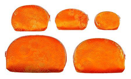 Set of 5 Saffron Brocade Clutch Purse