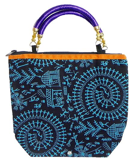 Tribal Print on Black Cotton Bag with One Zipped Pocket