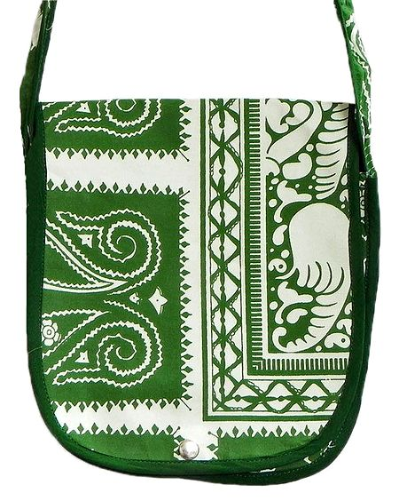 Green Print on Off-White Cotton Shoulder Bag with One Open Pocket