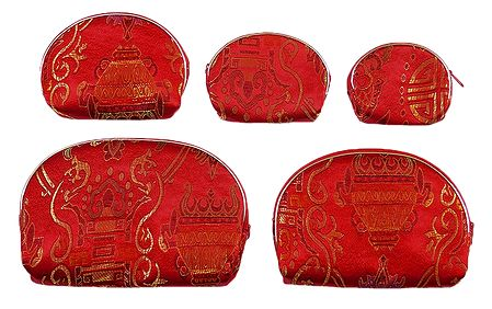 Set of 5 Red Brocade Clutch Purse