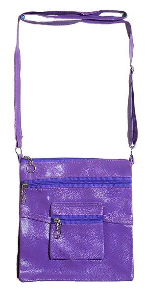 Rexine Mauve Color Sling Bag with Four Zipped Pocket