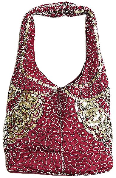 Red Satin Bag with Bead and Sequin Work