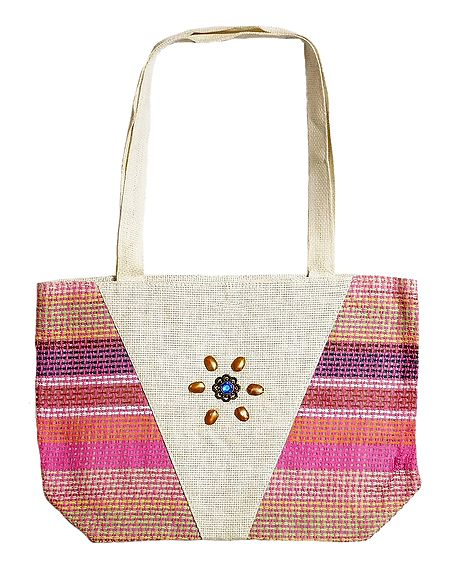 Decorative Jute Bag with One Zipped Pocket and One Small Open Pocket
