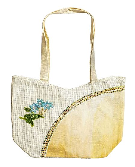 Jute Bag with One Zipped Pocket and One Small Open Pocket