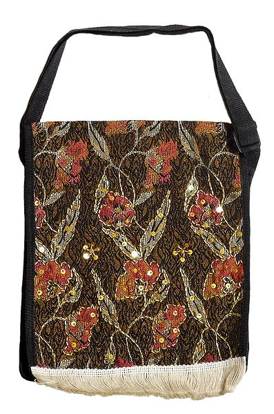 Floral Design Jute Cloth on Rexin with Bead and Sequin work One Open and Two Zipped Pocket