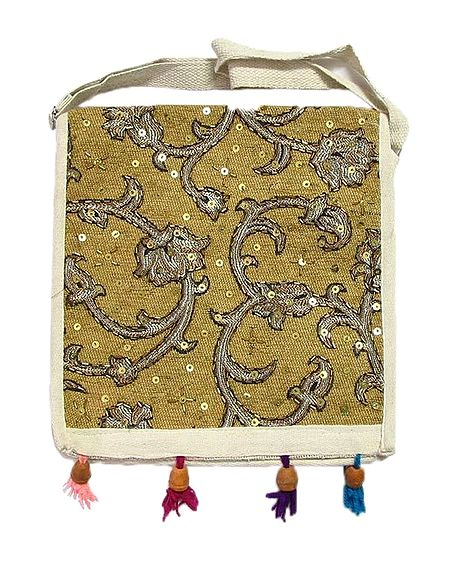 Sequined Jute Bag with One Open and One Zipped Pocket
