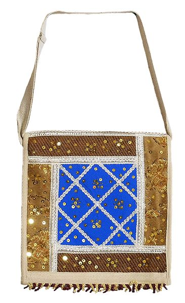 Sequined, Beaded and Laced Jute Bag with One Zipped and One Open  Pocket