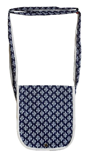 White Print on Blue Cotton Shoulder Bag with One Open Pocket