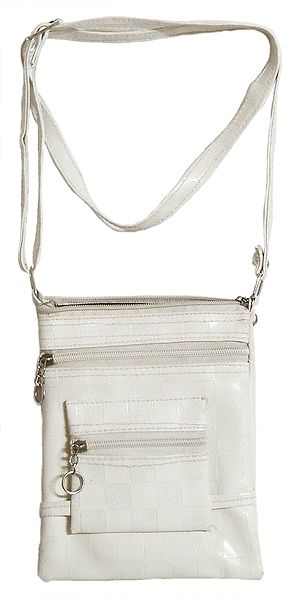 Off-White Rexine Sling Bag with Four Zipped Pocket