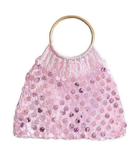 Light Pink Sequined Macreme Bag with Wooden Handle