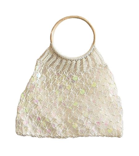 Off White Sequined Macreme Bag with Wooden Handle