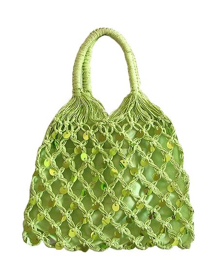 Light Green Sequined Macreme Bag