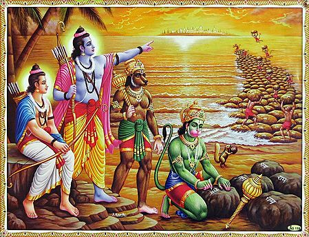 Hanuman and the Vanar Sena Build a Bridge of Rocks Across the Sea to Lanka