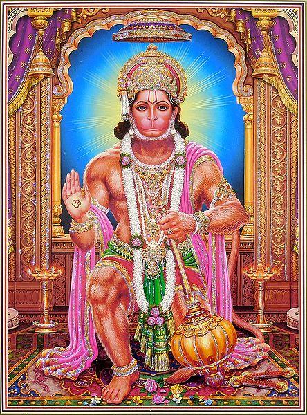 Hanuman - Poster with Glitter