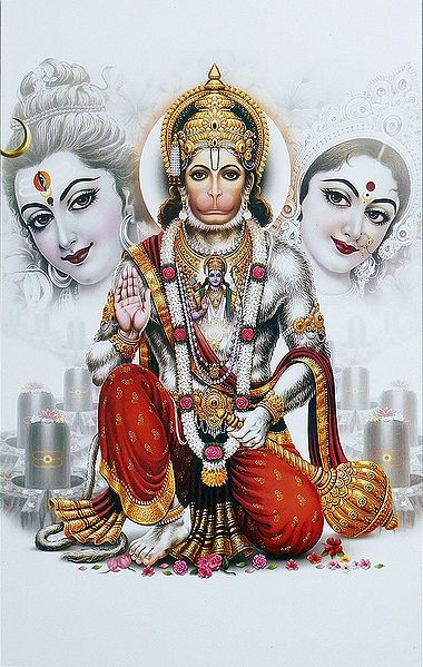 Hanuman with Shiva and Parvati