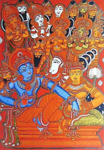 Lord Rama and Sita with Hanuman and People of Ayodhya