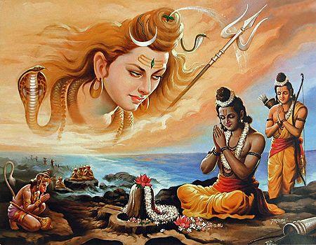 Rama Propitiates Shiva for His Blessings to Defeat Ravana