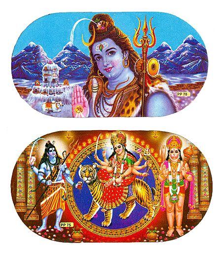 Shiva, Bhagawati and Hanuman - Set of 2 Stickers