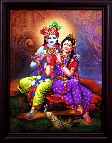 Radha Learning Flute from Krishna