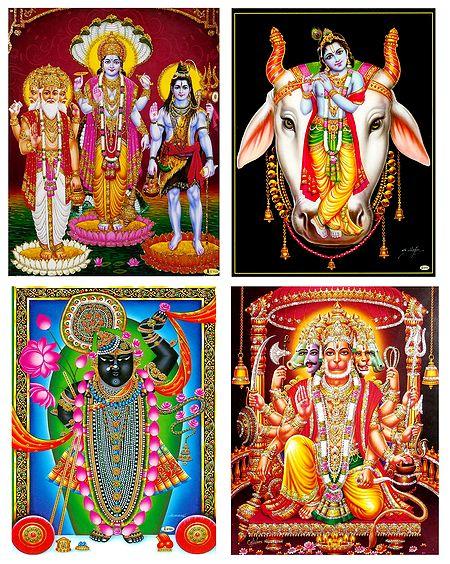 Brahma, Vishnu, Shiva, Krishna, Hanuman and Srinathji - Set of 4 Posters